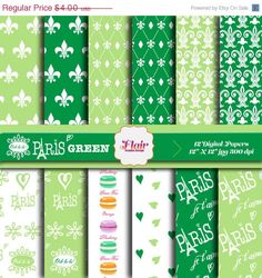 50 OFF OohLaLa  PARIS  GREEN Digital Paper by FlairGraphicDesign, $2.00