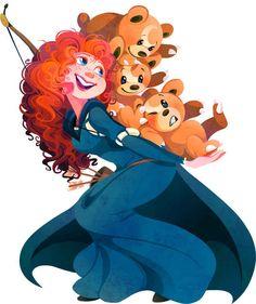 Merida ( Brave ) and Teddiursas. | When 10 Disney Characters Met Pokémon