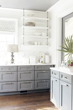 Open Shelving - Gray Cabinets - Kitchen Design - Bright Spaces - Home Ideas