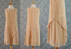 1920sinspired flapper dress in dark beige by HouseOfRecollections