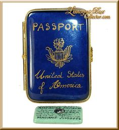 US Passport with Am Exp Card Limoges Box, Limoges boxes, Gifts
