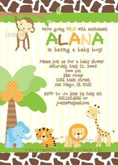 Baby Shower Invitation Jungle Monkey Shower invitations