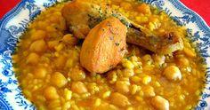 Potaje de garbanzos con arroz y pollo. Receta fácil y rápida