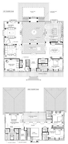 C Shaped House Floor Plan . 31 Lovely C Shaped House Floor Plan . Central Courtyard House Plans Lovely Fabulous Hacienda Style Homes French House Plans, House Plans One Story, Dream House Plans, Unique House Plans, Unique Floor Plans, U Shaped House Plans, U Shaped Houses, The Plan, How To Plan