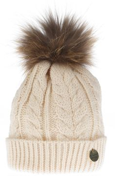 09acfb89d23 In love with this Holland-Cooper-Cable Knit Fur Bobble Hat  wintermusthave  Fur