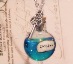 I found Iridescent Alice in Wonderland drink me necklace on Wish, check it out!