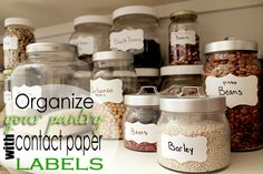 How to organize your pantry with leftover jars and contact paper - includes free printable for cute label shapes