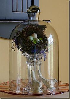 use a glass candlestick as interior pedestal