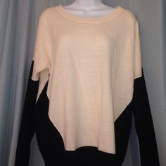Pretty color block sweater Black and cream block sweater. Looks good with black pants or skirt. Apt. 9 Sweaters Crew & Scoop Necks