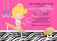 Gymnastics Birthday Party Invitation DIY Print by jcbabycakes