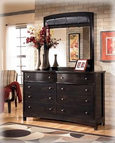Harmony Contemporary Dark Brown Wood Dresser and Mirror