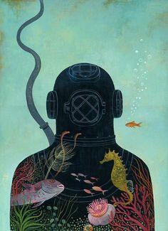 Jody Hewgill beautiful illustration / colour / sea / diver / fish / tropical