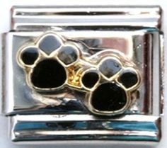 Dog Paw Black Double Raised Italian Charm