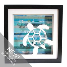 "Hawaiian Sea Turtle Shadowbox Made from Recycled Magazines - The overall shadowbox is 10"" x 10"" and the black frame is 3/4"" thick and 1-3/4"" deep.  ($56.00)"