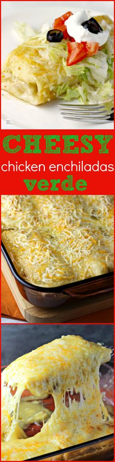Cheesy Chicken Enchiladas Verde by Renee's Kitchen Adventures - an easy dinner or lunch recipe for chicken enchiladas in green chili sauce with lots of CHEESE! Lunch Recipes, Mexican Food Recipes, Great Recipes, Cooking Recipes, Favorite Recipes, Mexican Dishes, Popular Recipes, Chicken Enchiladas Verde, Pork Verde