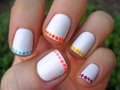 DIY neon polka dot french manicure DIY Nails Art