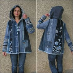 Hooded jacket, Upcycled Clothes by EcoClo, Denim Assortment, measurement M - Refashion Kleidung Design, Diy Kleidung, Sewing Clothes, Diy Clothes, Clothes Refashion, Shirt Refashion, Lined Denim Jacket, Mode Jeans, Denim Ideas