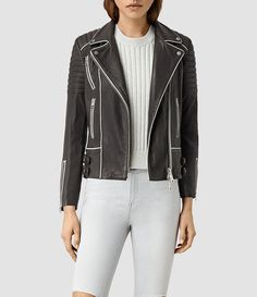Womens Bixer Piped Leather Biker Jacket (DARK GREY/ICE) - product_image_alt_text_1