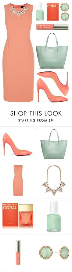"""""""Coral & Mint"""" by lgb321 ❤ liked on Polyvore featuring Christian Louboutin, Merona, Jaeger, Forever 21, Michael Kors, Essie and Origins"""