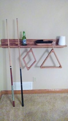 Pool Table Shelf, Drink And Cue Holder