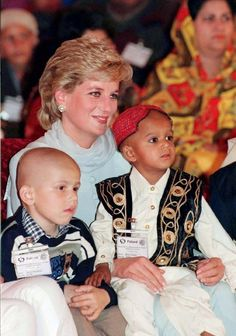Princess Diana with two young cancer patients in Pakistan - 1996