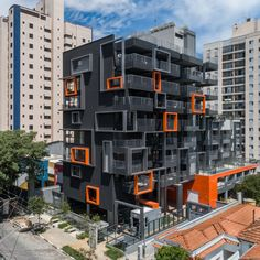 This architecture looks very similar to something we have hear in Dresden. What do you think of these geometric shapes combined with bold colour accents? Architecture Design, Watercolor Architecture, Architecture Panel, Facade Design, Concept Architecture, Residential Architecture, Mix Use Building, Container Buildings, Building Facade