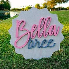 Star Ribbon Round Wood Sign Personalized Nursery Name Sign Baby Shower Gift Wall Art Personalized Sign Established Sign Wooden Signs Nursery Name, Nursery Signs, Nursery Room Decor, Girl Nursery, Girl Room, Wooden Letters, Wooden Signs, Custom Wood Signs, Baby Sheets