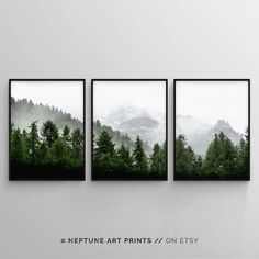 3 Piece Forest Wall Art Print, Set of 3 Forest Landscape Art, Green Forest Printable, Nature Printab 3 Piece Wall Art, Wall Art Sets, Framed Wall Art, Wall Art Prints, Framed Prints, Forest Landscape, Landscape Art, Green Landscape, Apartment View