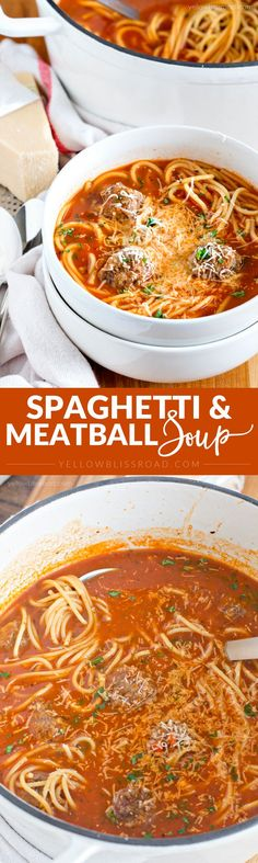 Easy and Delicious Spaghetti Soup with Homemade Meatballs