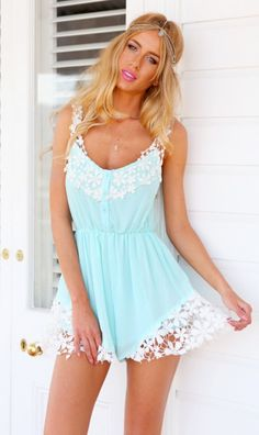 Aquamarine Playsuit   New Arrivals   Women's Fashion and Clothing   Online Shopping - Mura Boutique