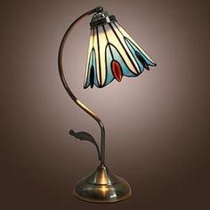 Retro Nature-Inspired Table Lamp with Lily Pattern - Blue