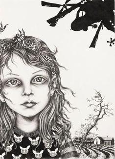 Julie Nord - Abduction (2009). (57x76 cm. Felt-tip pen, posca pen and indian ink on paper.)