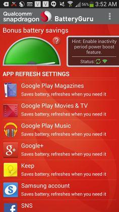 Samsung Galaxy S4 Power Saving Qualcomm BatteryGuru App Review #attmobilereview
