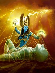 La Divinidad Isis como compañera de Thot, atendiendo a su esposo Osiris.