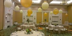 Balloons as centerpieces....hang from ceiling or fill with helium and secure to table.