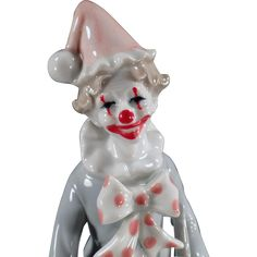 Vintage Music Box, Porcelain Clown Figurine