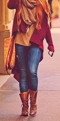 Red chunky cardi, snood, jeans. brown ankle boots ♥