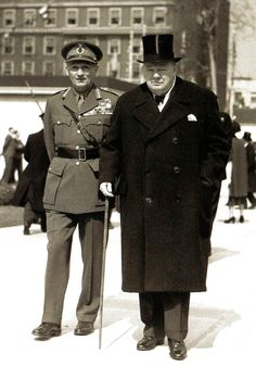 Winston Churchill and Field Marshal Viscount Montgomery leaving after the unveiling ceremony of the Roosevelt statue in Grosvenor Square, London - 18 April 1948