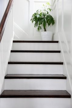 Trendy top of stairs landing decor dark wood ideas Painted Stairs, Wood Stairs, House Stairs, Attic Stairs, Stair Landing Decor, Stair Decor, Stair Stickers, White Stairs, Staircase Makeover