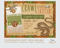 Reptile Birthday Invitation Snakes and Lizards by PaperFoxStudios, $14.00