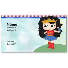 #SuperGirl Business Card  This is an very cute super girl #kawaii #business #card. Supergirl, stands on a green hill, against a blue sky,,, just waiting to take on the first one to step out of line! Front and Back of card can be edited to suit your needs.   $19.10 per pack of 100