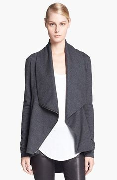 Helmut Lang 'Sonar' Shawl Collar Wool Jacket available at #Nordstrom. Love that it can be styled into multiple looks depending on whether you leave it open or play with the collar's drape when it's zipped.