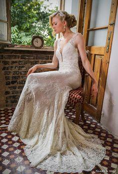 naamat and anat 2017 bridal long sleeves deep plunging v neck full embellishment elegant sexy sheath wedding dress low back sweep train (libertis) sdv