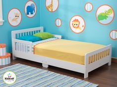Slatted White Toddler Bed For Kids