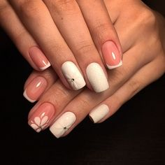 This cute White and Pink Nail Art. A classic nail art with exotic details is next on our list that is worth considering for your casual days.