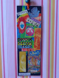Groovy Music Handmade Collage Bookmark by Pepperland on Etsy, $10.00