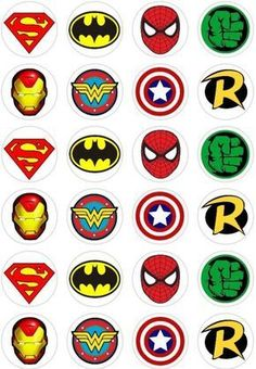 about 24 Super Hero Logo Retro Comic Book Cupcake fairy Cake Toppers Rice Wafer Paper 24 Super Hero Logo Retro Comic Book Cupcake fairy Cake Toppers Rice Wafer Paper in Crafts, Cake Decorating Avenger Cake, Avenger Party, Avengers Birthday, Superhero Birthday Party, Batman Party, Boy Birthday, Birthday Parties, Logo Super Heros, Book Cupcakes