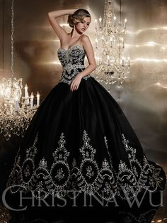 Black Wedding Dress Photos - Search our wedding photo gallery for thousands of the best Black wedding Dress pictures. Find the perfect Black wedding Dress photos and be inspired for your wedding. Black Wedding Gowns, Wedding Dress Sizes, White Wedding Dresses, Bridal Wedding Dresses, Gothic Wedding, Lace Wedding, Medieval Wedding, Black Quinceanera Dresses, Wedding Venues