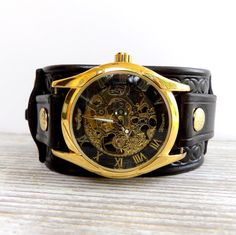 Black and gold leather watch, Skeleton wrist watch, Watches for men's, Men's gift, Cuff Watches, Steam punk watch