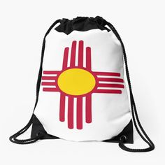 """""""New Mexico Flag Symbol Patriotic Red Sun"""" Drawstring Bag by ArgosDesigns 